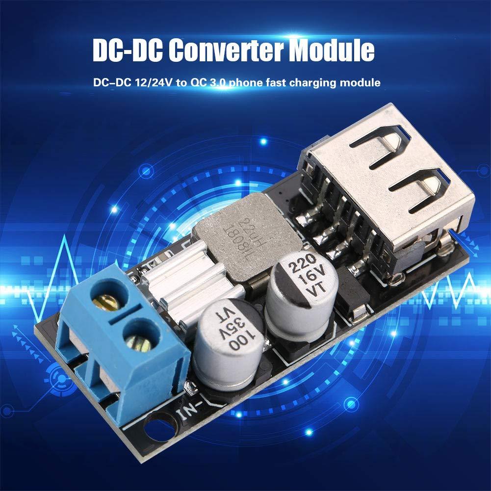 12V 24V 6V-32V to 5V QC 3.0 USB Fast Charging Power Source Module Voltage DC to DC Converter Power Regulator Module DC-DC Voltage Buck Module