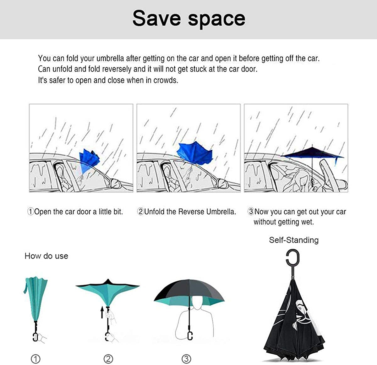 SLEPOPO Inverted Umbrella,Windproof UV Protection Big Straight Umbrella with C-Shaped Handle and Carrying Bag Black and White Minimal Double Layer Reverse