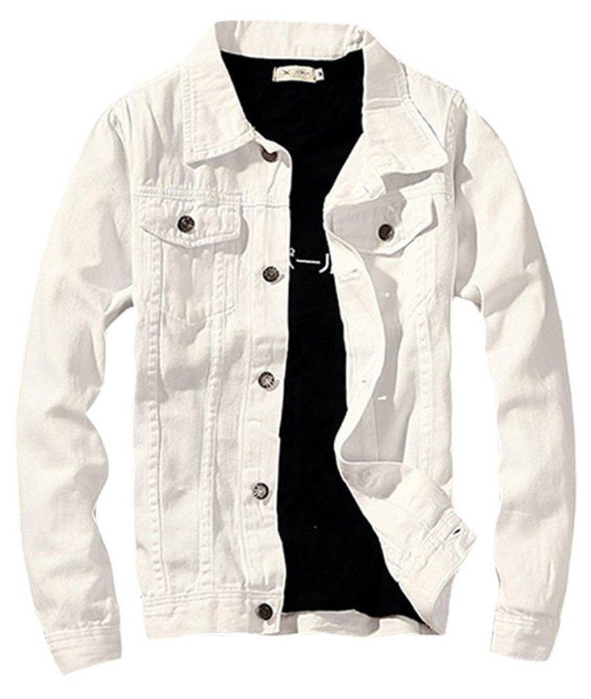 LifeHe Denim Jacket Men Slim Fit Fashion Jeans Coat (M, White) by LifeHe