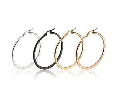 1dff5cfbd90e Pendientes de aro de acero inoxidable chapado en oro 4 pares aros grandes  de acero quirúrgico 60 mm  Amazon.es  Joyería