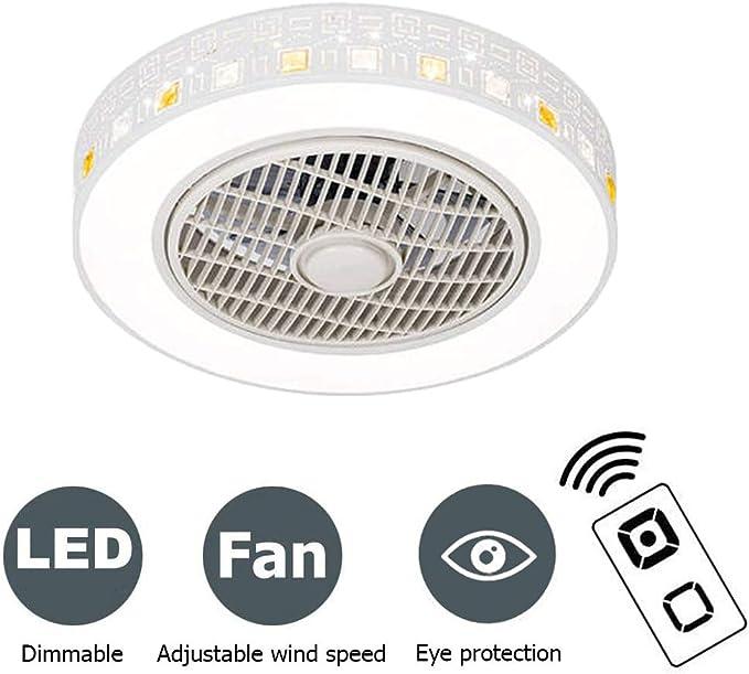 Invisible Ventilador de Techo Dormitorio 72W L/ámpara de Techo Control Remoto Silenciosa Dorado /Ø52cm PPAMZ Luz del Ventilador de Techo de Sala de Estar Sala de Estar del Dormitorio