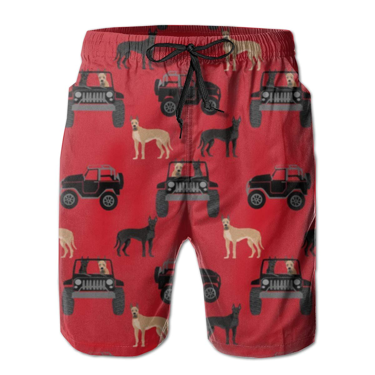 Jiqnajn6 Great Dane in Jeeps Cute Dogs Black and Red Mens Swim Trunks Quick Dry Summer Surf Beach Board Shorts with Mesh Lining//Side Pockets