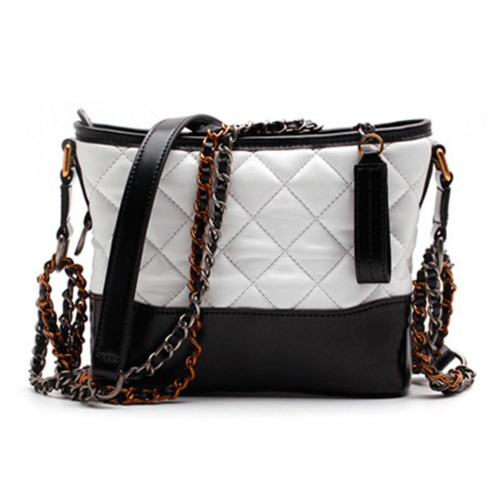Actlure Cowhide Quilted Leather Shoulder Crossbody Chain Hobo Purse Bag (S, WHITEBLACK)