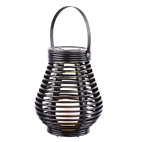Banner Garden Outdoor Hanging Solar Lights Decorative Rattan Style Lantern  With LED Flameless Candles Lamp,