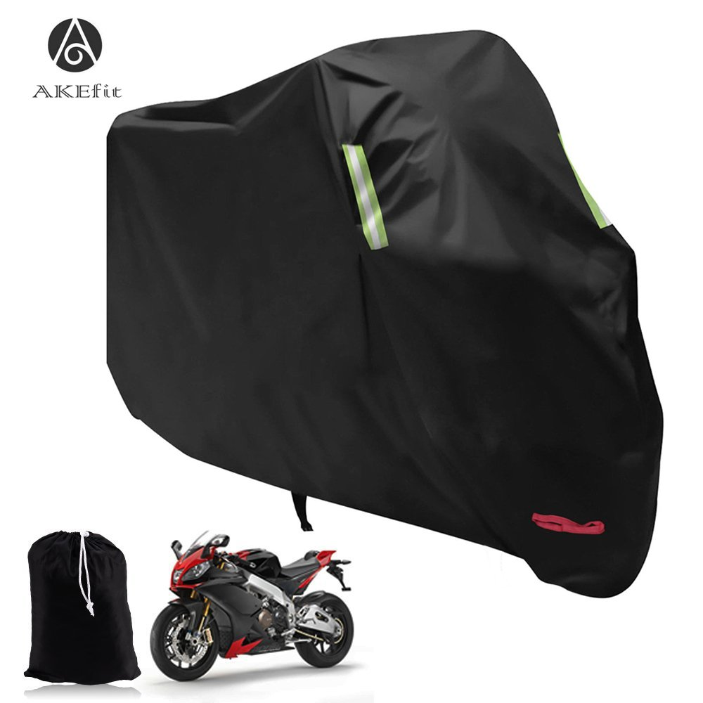 AKEfit Waterproof Motorcycle Cover, All Weather Outdoor Protection, 210D Oxford Durable & Tear Proof for 104 Inch Motorcycles Like Honda, Yamaha, Suzuki, Harley and More