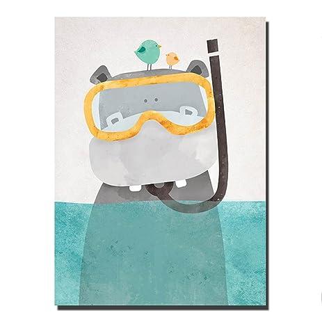 Amazon.com: Hippo Wall Art Canvas Print Poster Decor - 20 x 24 ...