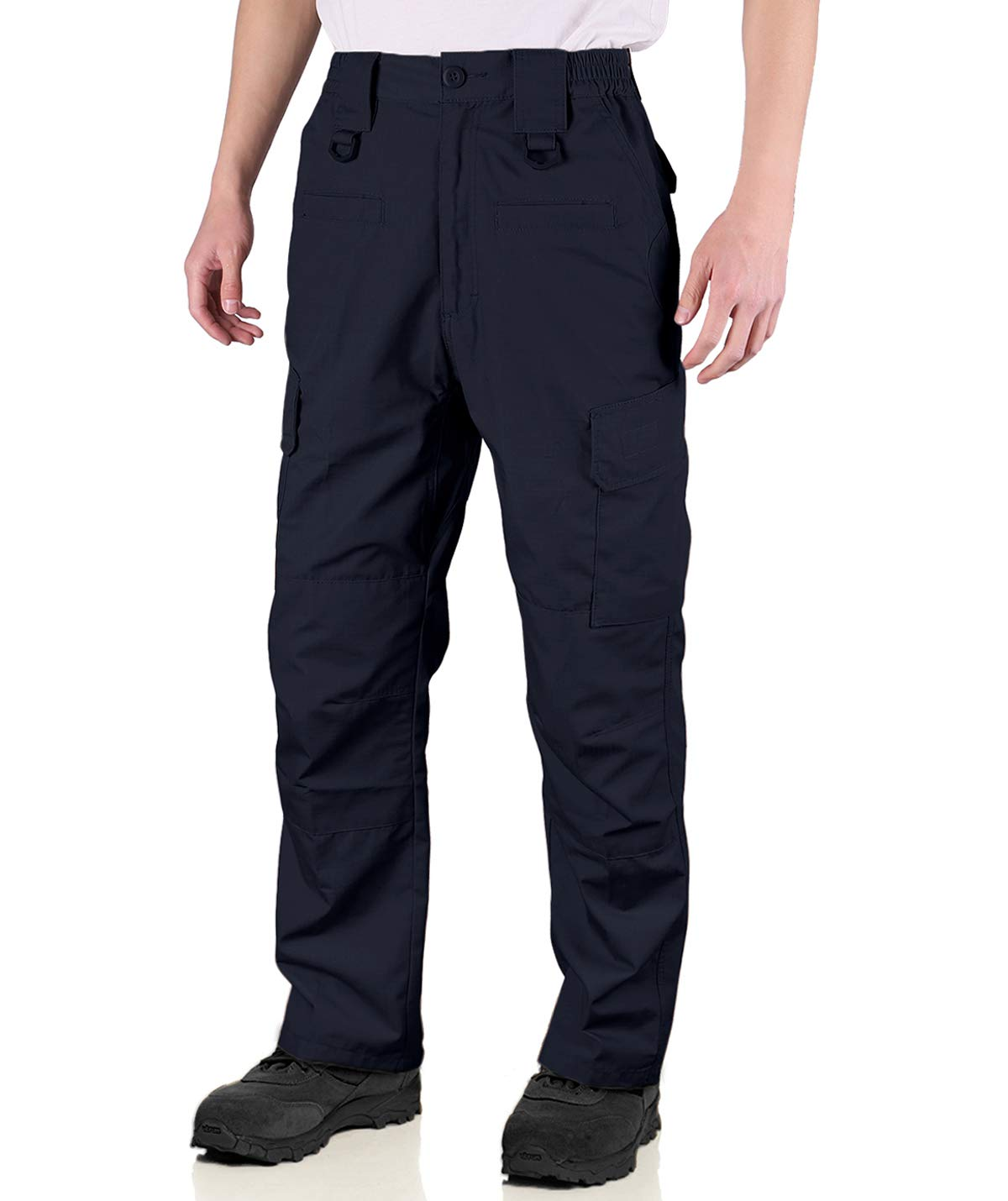 HARD LAND Men's Waterproof Tactical Pants Ripstop Cargo Work Pants with Elastic Waist for Hunting Fishing Hiking Size 36×32 Navy Blue