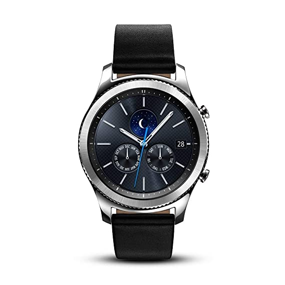 Samsung Gear S3 Classic SM-R770 Smartwatch - Black Leather w/ Large Band (Renewed)