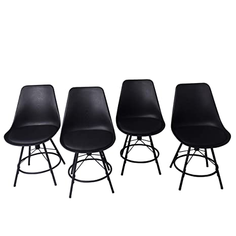 Pleasant Haobo Home Modern Industrial Metal Bar Stools Plastic Chair Counter Height Bar Stools Set Of 4 For Indoor Outdoor Dining Chair 18 04 Black Frankydiablos Diy Chair Ideas Frankydiabloscom