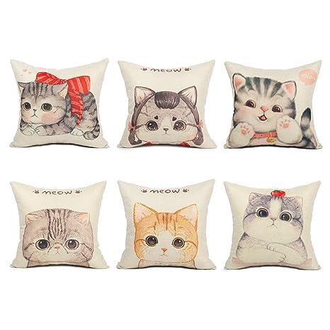 Topfinel diseño de gato manta de lino y algodón cuadrado almohadas fundas de cojín decoración del hogar sofá Gato Lindo