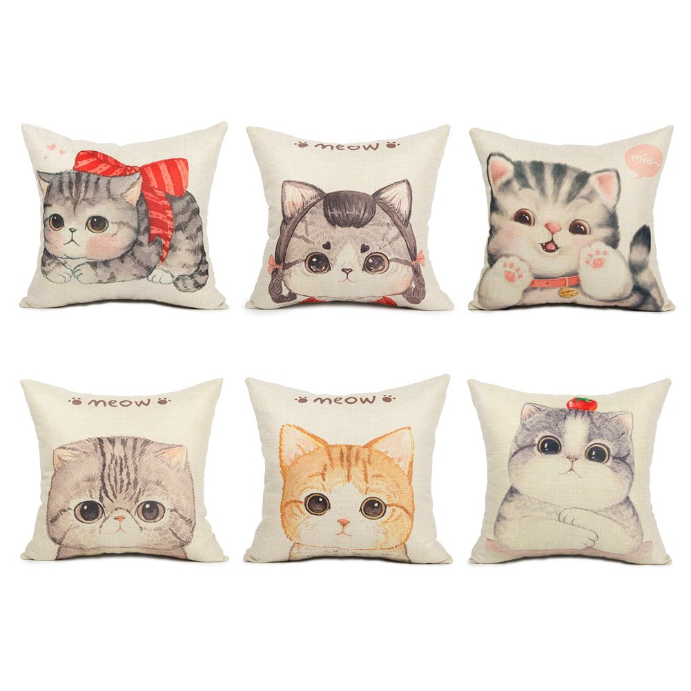 Top Finel Square Decorative Throw Pillow Covers Cotton Linen Outdoor Cushion Covers 18 X 18 For Sofa Bed, Set of 6, Cute Cats