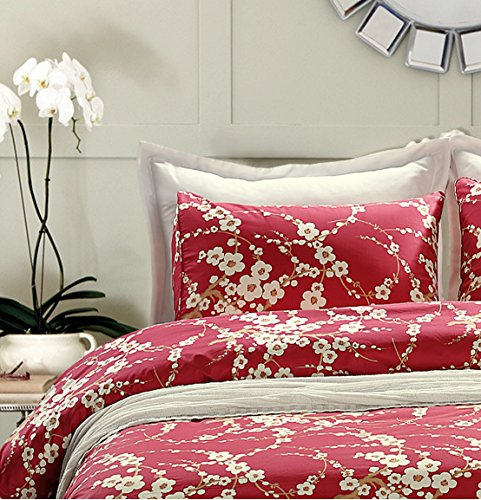 Set Bedding Blossom - Japanese Oriental Style Cherry Red Blossom Floral branches Print Duvet Quilt Cover 300tc Cotton Bedding 2 piece Set (Twin)