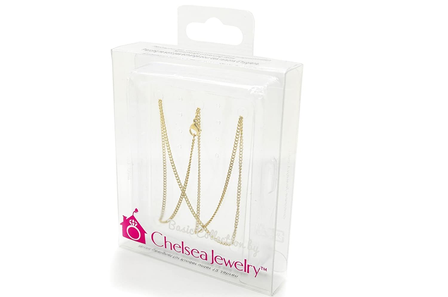 Chelsea Jewelry Basic Collections Italian Designed 1.9mm Wide 18K Gold Concave Curb Classic Link Chain Necklace.