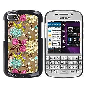 Be Good Phone Accessory // Dura Cáscara cubierta Protectora Caso Carcasa Funda de Protección para BlackBerry Q10 // Flowers Art Drawing Roses