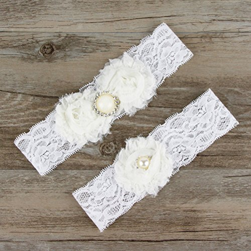 Ladies bridal lace garters stretch elastic garters pearl decor-Ivory
