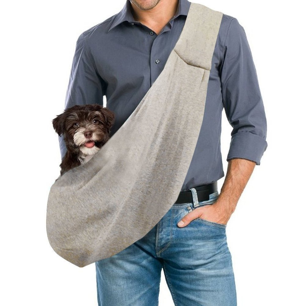GemPet Hand-Free Revisible Pet Small Dog Sling Carrier Bag Gray