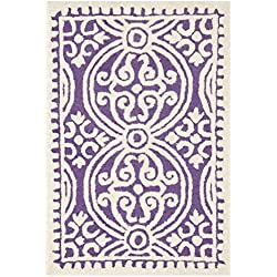"Safavieh Cambridge Collection CAM123K Handcrafted Moroccan Geometric Purple and Ivory Premium Wool Area Rug (2'6"" x 4')"