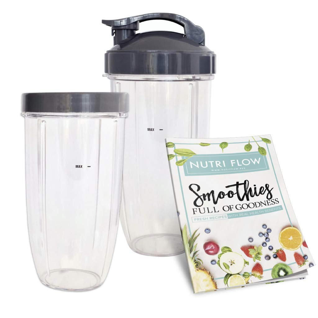 NutriBullet Flip Top To Go Lid with 24oz Tall Cup,Fits Nutribullet 600W 900W Blenders 2 Pack