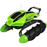 SZJJX RC Terrain Twister Boat 4WD 2.4G Remote Control Tank Vehicle 8 Channels Amphibious All Terrain Landing Ship Land&Water for Water/Flat Grand/Grassland/Snowland/Sand Beach/Desert-Green