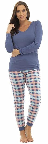Tom Franks - Pijama de una Pieza - Manga Larga - para Mujer Blue Top/