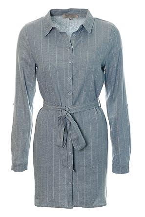 37a4413d01b Women s Ladies Denim Shirt Dress Belted Button Down Midi Mini Shift Dress  Size 8 10 12