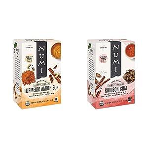 Numi Organic Tea Amber Sun, 12 Count Box of Tea Bags (Pack of 3) Turmeric Tea & Organic Tea Rooibos Chai, 18 Count Box of Tea Bags, Herbal Teasan, Caffeine-Free (Packaging May Vary)