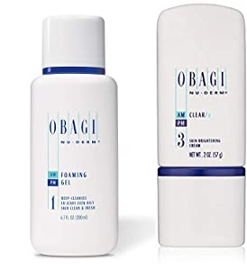Obagi Medical Nu-Derm Foaming Gel And Obagi Medical Nu-Derm Clear Fx Skin Brightening Cream.
