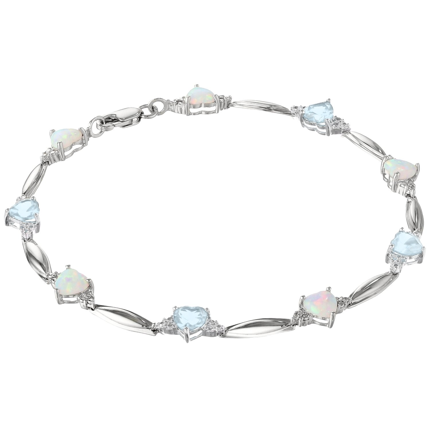 5MM Heart Opal and Aquamarine .01 cttw Diamond Sterling Silver Bracelet
