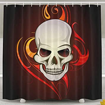Water Repellent Shower Curtain Skull Tattoo 100 Polyester Fabric 70quot