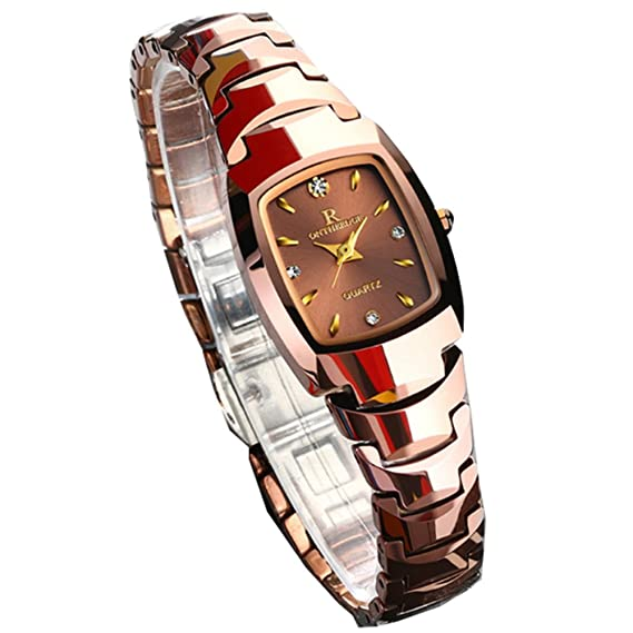 Reloj para mujer, reloj de acero de tungsteno resistente al agua ornamento Reloj de pulsera de cuarzo para mujer Reloj mecánico pulsera (Color : Gold): ...