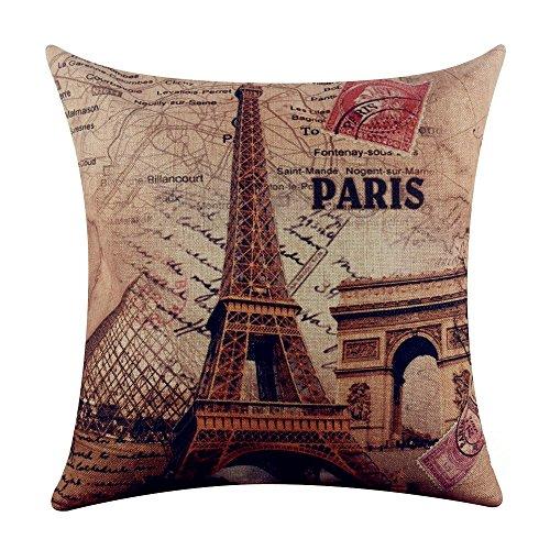 Eiffel Tower Louvre - Acelive 18x18 inches France Paris Eiffel Tower Linen Pillow Case Cushion Cover Louvre Museum Triumphal Arch Cushion Covers Pillow Case