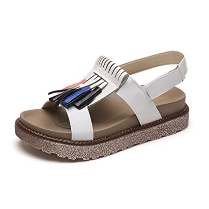 5a21c43d8f1c Amazon.com  Womens Flatform Sandals Tassel Velcro Wedge Sandal Chunky Peep  Toe Ankle Strap Sandals Casual Summer Shoes for Women   Girls  Sports    Outdoors