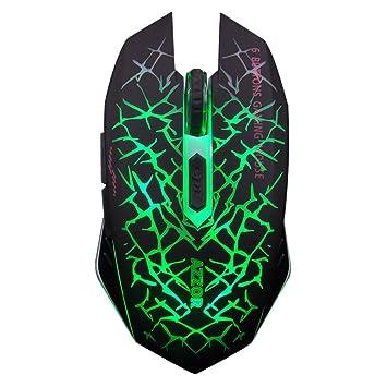 azzor M6 Silencioso Rechargeable Wireless Optical Gaming Mouse para Ordenador de escritorio y portátil. (Luz Verde): Amazon.es: Informática