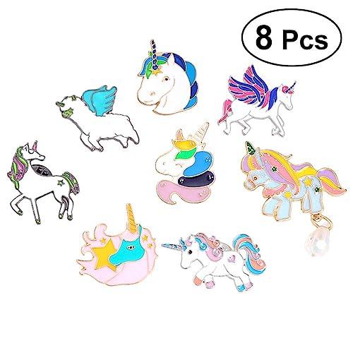 TENDYCOCO Alfileres de Solapa de Unicornio Broches de Animales de Dibujos Animados Botines de Caballo de Aceite de caída Alfileres de aleación 8pcs para ...
