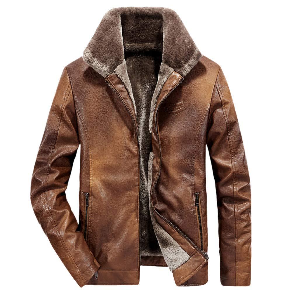Kadola Men Fashion Winter Lapel Zipper Pocket Cashmere Imitation Thickened Leather Coat