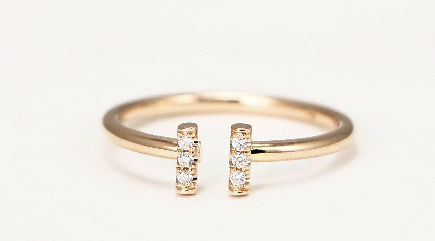 14k Rose Gold Double Bar Ring, Diamond Stacking Ring