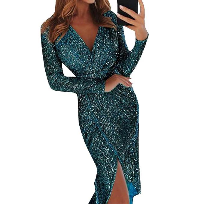 e42567f684022 Hibote Women's Long Sleeve Jumper Dress Casual Deep V Neck Sequin Tight Wrap  Bodycon Club Party Evening Midi Dress: Amazon.co.uk: Clothing