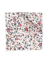 Men's Pocket Square Cotton Floral Printed Formal Handkerchief Vintage Kerchief White