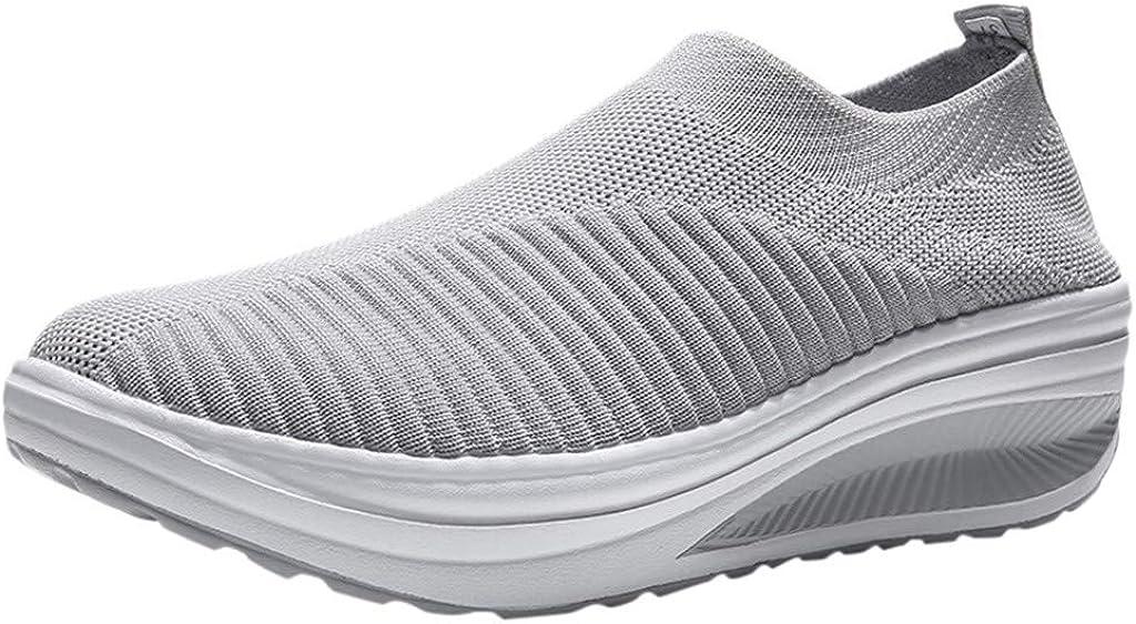 YWLINK Zapatos Casuales De Mujer Zapatos De CuñA Antideslizantes Transpirables De Malla Tejida con Mosca Zapatos Planos De Batido Zapatillas Ligeras Zapatos Individuales Zapatos De Senderismo