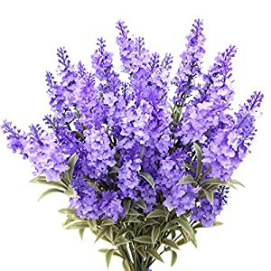 Guagb Artificial Lavender Silk Flowers Plastic Fake Plant Make a Bountiful Flower Arrangement Decor Your Outdoor Indoor House 66