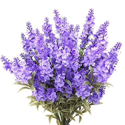 - Guagb Artificial Lavender Silk Flowers Plastic Fake Plant Make a Bountiful Flower Arrangement Decor Your Outdoor Indoor House (6 Pieces)