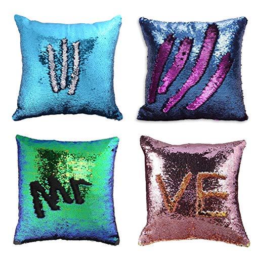 - Wonder4 Pillow Case Sequins Cushion Cover 4Pack Reversible Mermaid Throw Pillow Case Color Changing Sequins Standard Cotton for Couch Decoration (Purple/Pink/Navy Blue/Light Blue) 16 x 16 inches