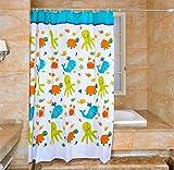 YJ Bear Cartoon Sea Animal Polyester Mildew Resistant Shower Curtain Anti-bacterial Bath Decor Waterproof Home Decoration Bathroon White Curtain 59'' X 71''