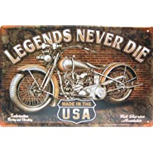 "Legends Never Die, Harley Davidson, Metal Tin Sign, Vintage Style Wall Ornament Coffee & Bar Decor, Size 8"" X 12"""