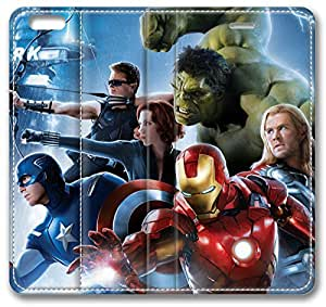 Avengers 2 Robert Downey Jr Iron Man Tony Stark Chris Evans Captain America Steve Rogers Chris Hemsworth iPhone 4s Case, Leather Cover for iPhone 4s Premium Soft PU Leather Wallet Cover - Verizon, AT&T, Sprint, T-Mobile, International, and Unlocked with Black PC Hard Case Inside for iPhone 4s by iCustomonline