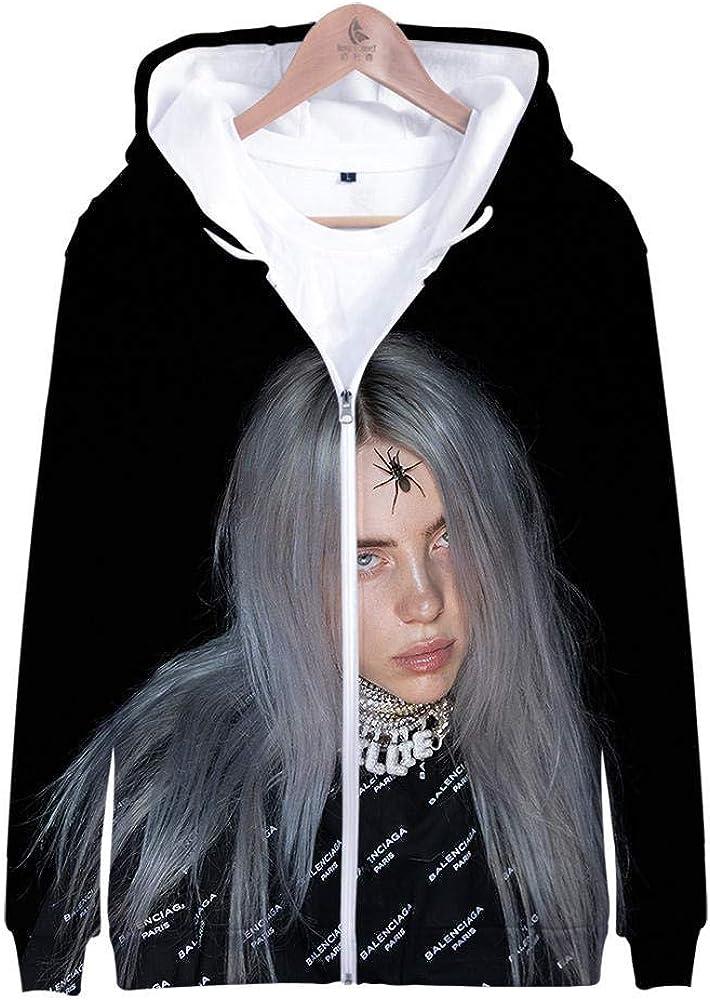 nobrand Die amerikanische S/ängerin Billie Eilish 3D gedruckte Unisex Hoodie lose Plus Gr/ö/ße Hoodie Sweatshirt Rei/ßverschlussjacke