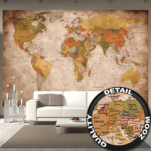 Wallpaper used look - wall picture decoration Globe Continents Atlas World Map Earth Geography retro old school vintage map poster wall decor by GREAT ART (132.3 Inch x 93.7 Inch/336 x 238 cm) - Map Mural