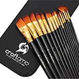 Craftamo Art Paint Brush Set for Watercolor, Acrylics, Oil & Face Painting - 15 Assorted Paint Brushes with Carry Case/Pop Up Stand (Office Product)