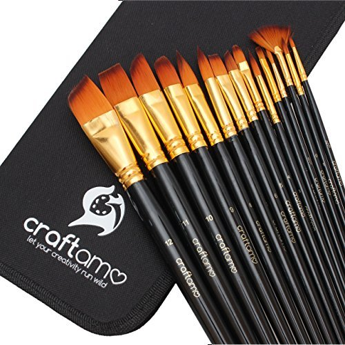 Craftamo Art Paint Brush Set for Watercolor, Acrylics, Oil & Face Painting
