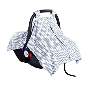 2 in 1 Carseat Canopy Cover and Nursing Cover Up - Universal Fit Infant Baby Car Seat Canopy Stroller Cover | Best Baby Shower Gift for Breastfeeding Moms | Perfect for Both Girls and Boys - Chevron